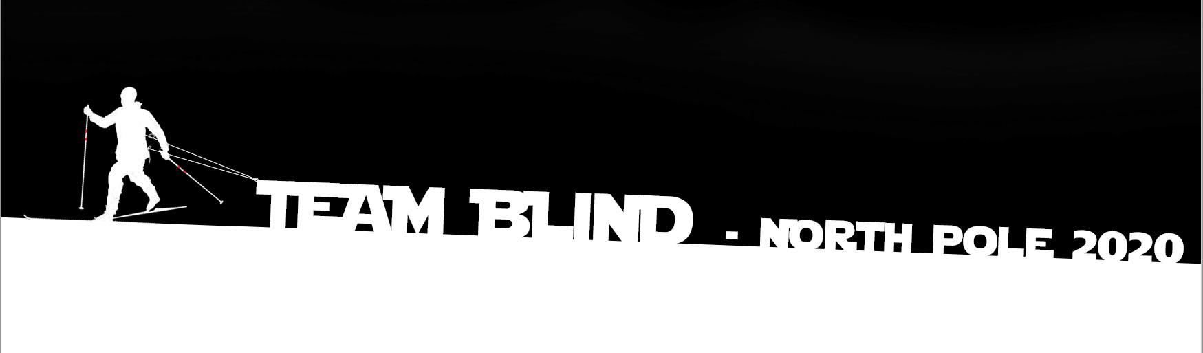"""Skiløber der trækker et banner med teksten """"Team Blind - North Pole 2020"""""""