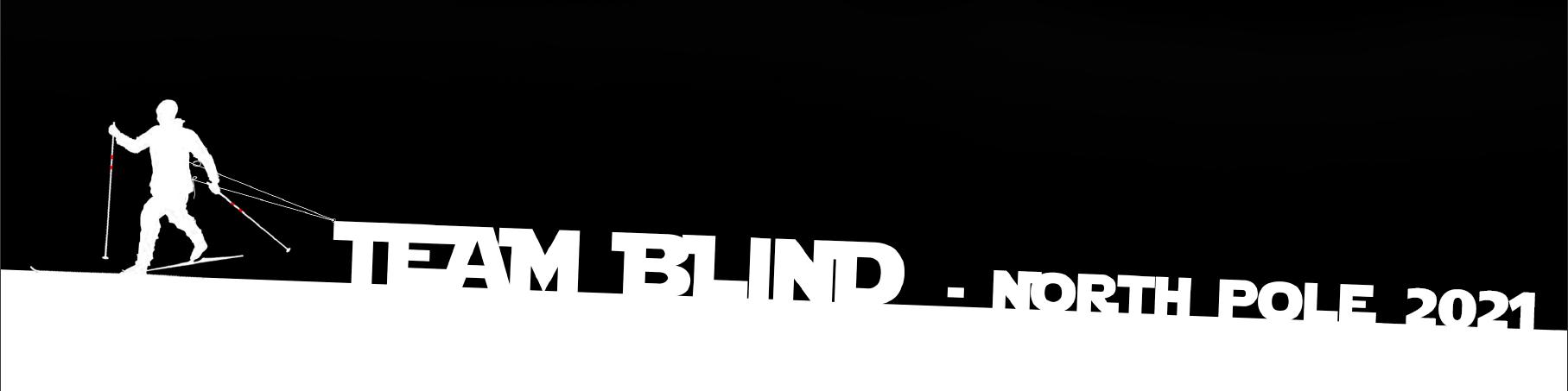 """Skiløber der trækker et banner med teksten """"Team Blind - North Pole 2021"""""""